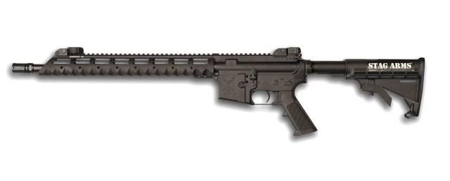 Black AR-15 rifle chambered in 9mm with Diamondhead free floating handguard