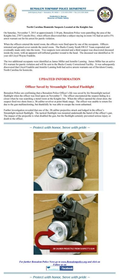 press release with picture of weapon-mounted light with .38 bullet impact