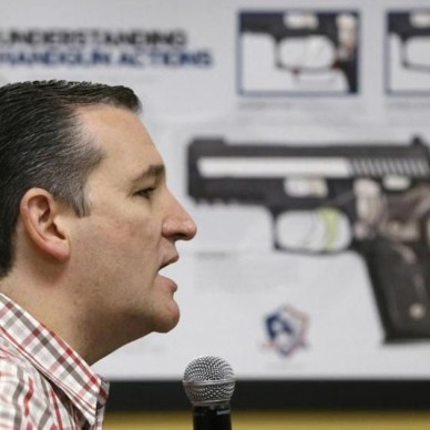AP image framed where it looks like an image of a pistol is pointed at Texas Senator Ted Cruz