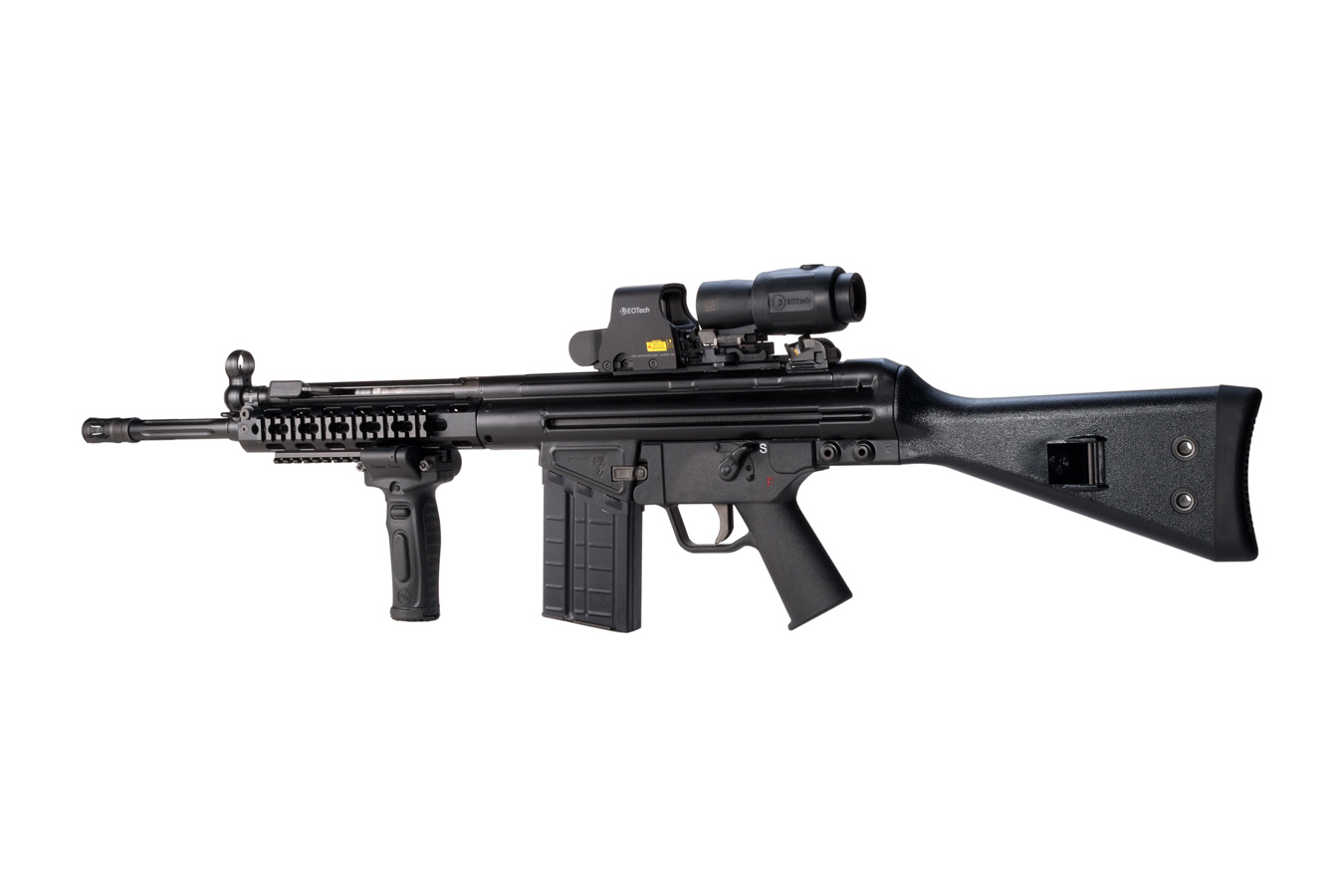 semi automatic rifle with EOTech scope and magnifer