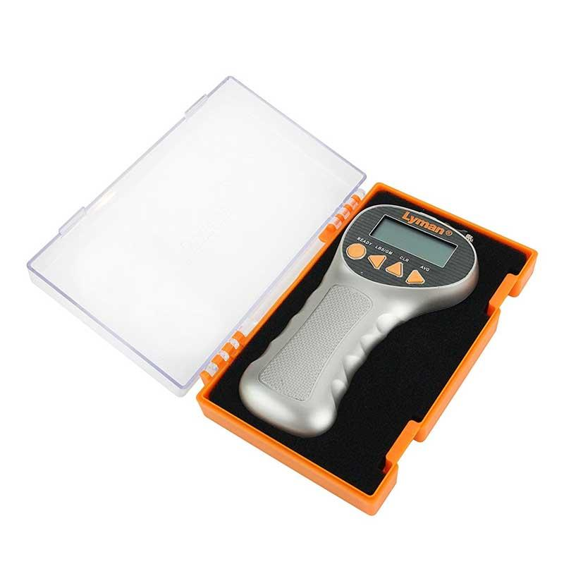 Lyman Digital Trigger Pull Gauge Lyman Digital Trigger Pull Gauge in open orange plastic case