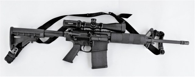 Del Ton DT 10 AR-10 rifle with scope and sling on a white background