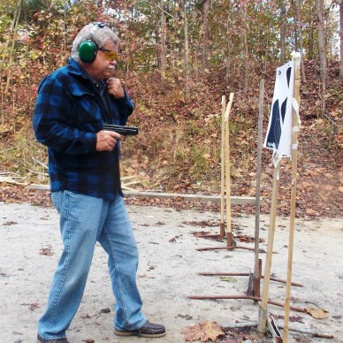 Bob Campbell Shooting a .357 SIG from close range