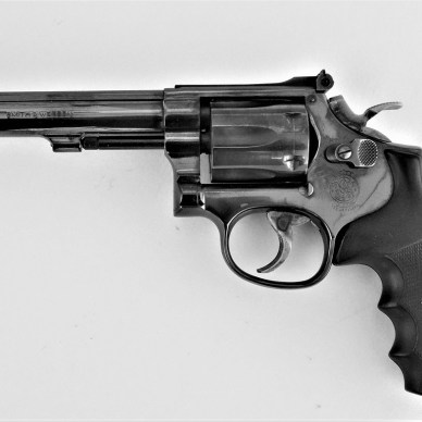 Smith and Wesson K frame rimfire revolver left profile