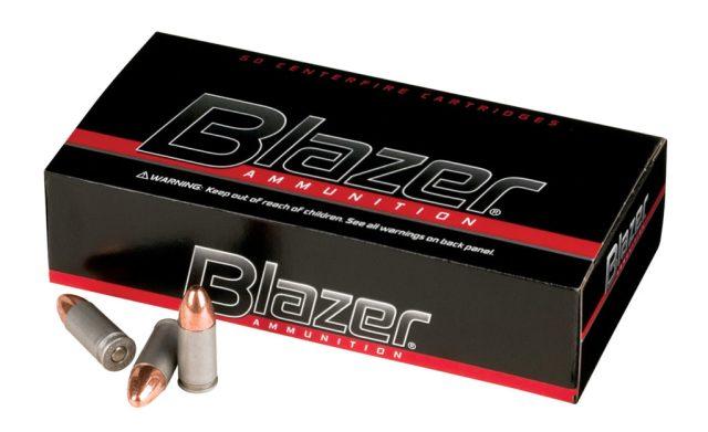 Blazer ammunition box with two cartridges