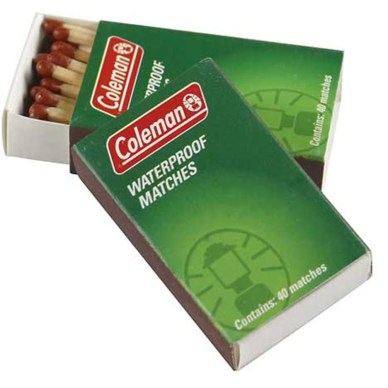 Box of waterproof matches from Coleman.