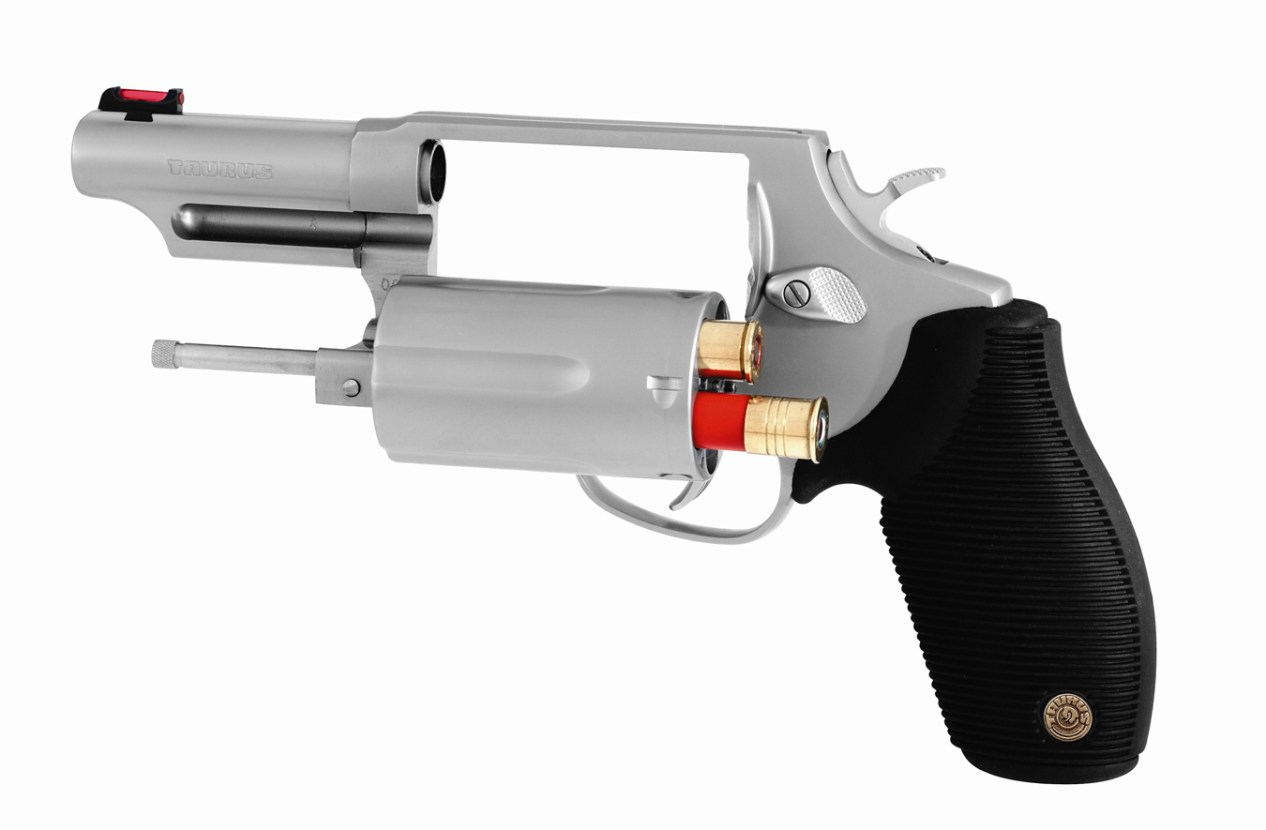 Taurus Judge revolver left profile with cylinder open