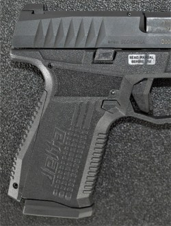Texture on the grip of the Arex Rex Delta pistol