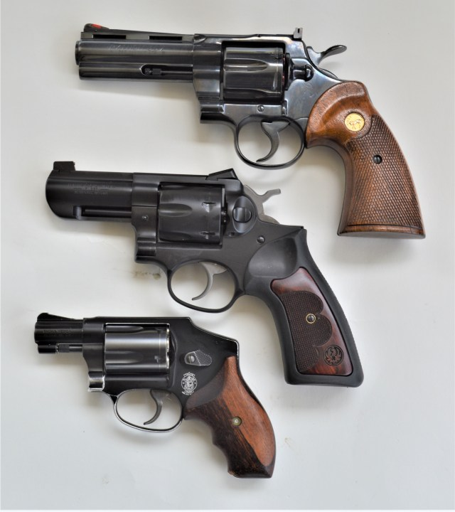 Colt, Ruger and Smith and Wesson revolvers