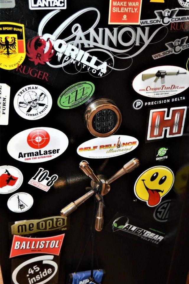 gun safe with stickers