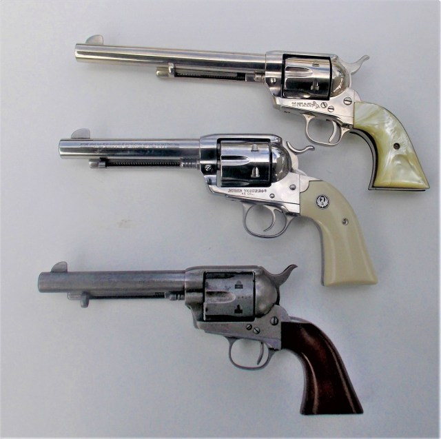 Three revolvers with different barrel lengths
