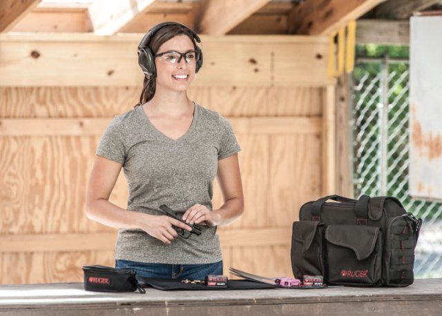 Woman Preparing to Shoot Ruger LCP II