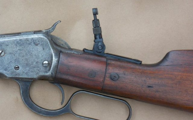 Lever-Action Rifle Stock and Rear Sight