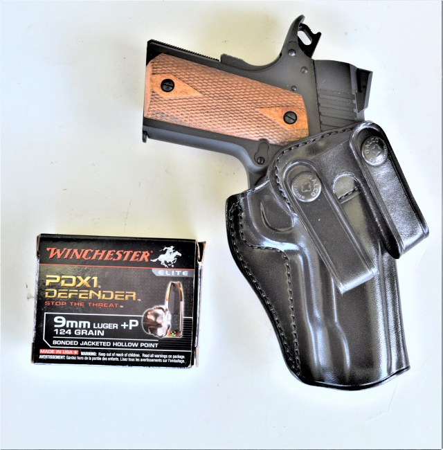 1911 in Leather Holster with Winchester Ammo