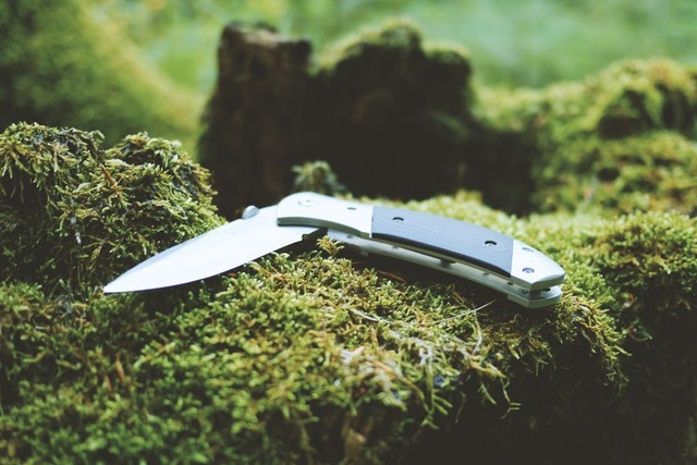 Folding knife on mossy branch