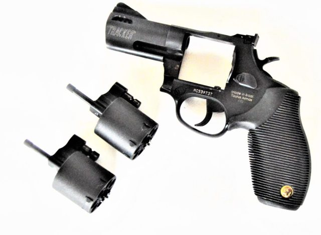 Revolver with two cylinders separated