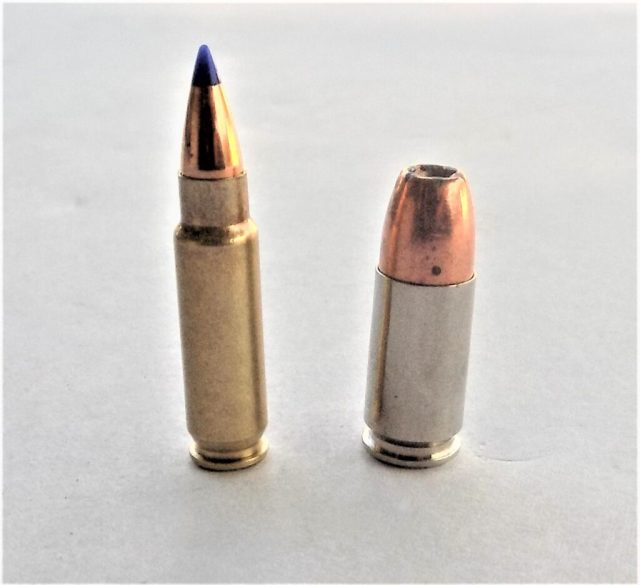 5.7x28mm and 9mm Luger cartridges