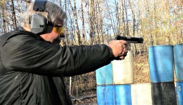 Man Shooting .45 ACP Springfield Ronin 1911