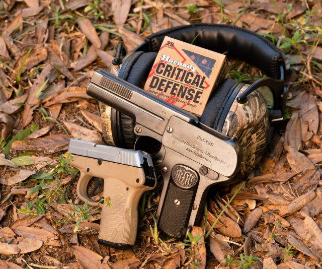 hornady ammo and two handguns