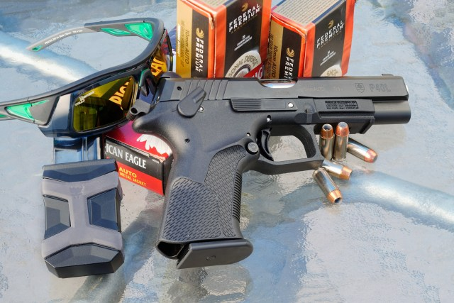10mm S&W pistol, gloves, glasses and ammo
