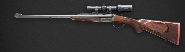 French Double Rifle with Scope for African Safaris