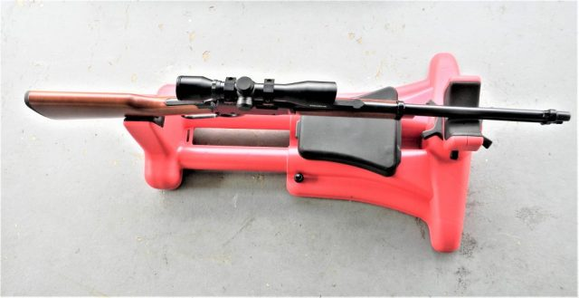 rifle on shooting rest