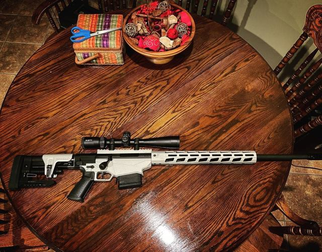 white AR-style bolt-action rifle