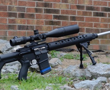 AR-15 Rifle with Bipod and Scope on Grass