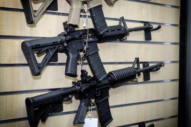 AR-15s on wall rack