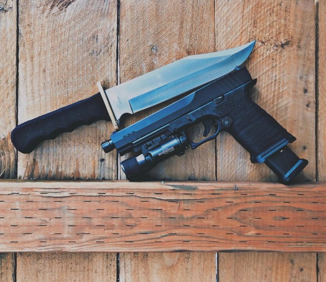 GLOCK handgun and Knife