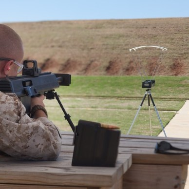 soldier shooting rifle at chronograph
