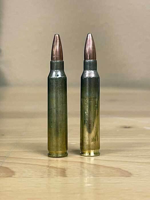 .223 cartridge next to 5.56 cartridge