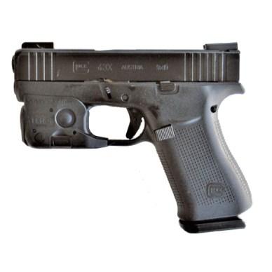 Glock 43x left profile with Streamlight TRL 6 weapon light