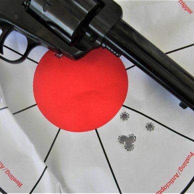 zoned paper target with 5 bullet holes that show s errors in your form