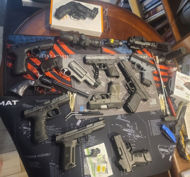 Pistols spread out on table