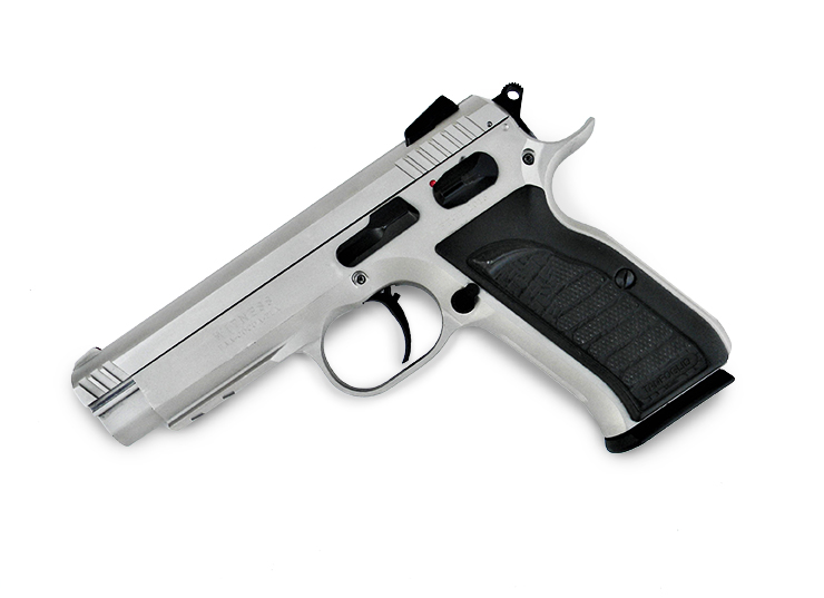 EAA Witness Match pistol left profile stainless with black grips