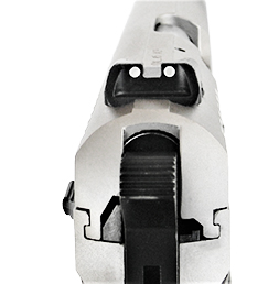 Two white dot rear sight in a pistol