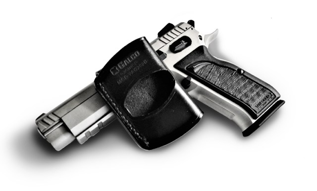 Galco Yaqui Slide holster black leather with EAA Witness pistol