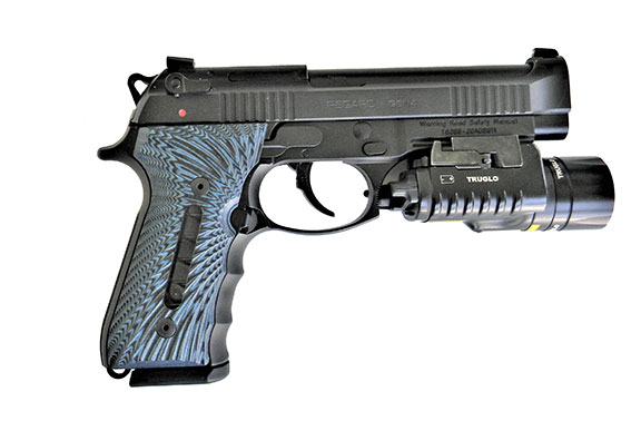 Girsan Regard Gen 4 pistol with blue G10 grips and TruGlo weapon light attached
