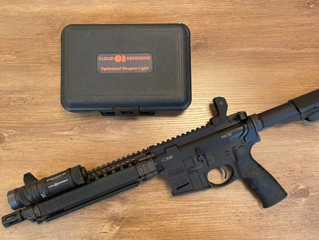 AR pistol with weapon light