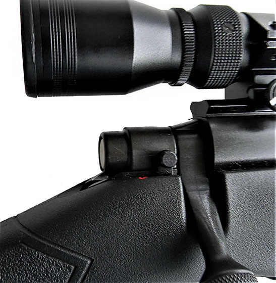 Close up of the safety on the Mossberg Patriot