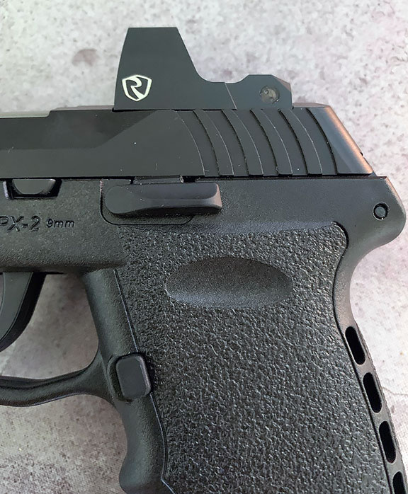 slide stop on the SCCY CPX-2RD pistol