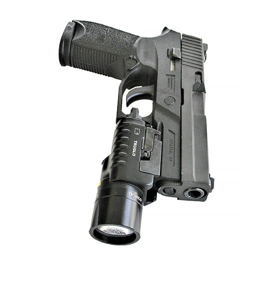 SIG P250 9mm handgun fitted with a TruGlo TruBrite weapon light