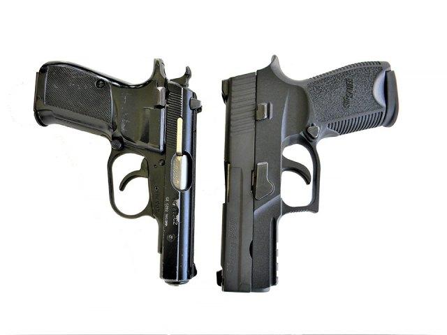 CZ 83 .380 ACP pistol left, SIG P250 handgun right