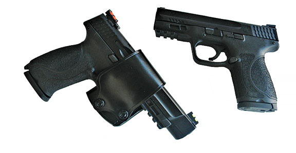 Smith & Wesson Military & Police 5.0 Pro Series pistol in a Galco belt slide holster and M&P 2.0 Compact