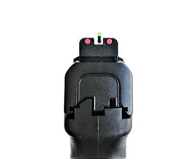 S&W M&P 5.0 Pro Series pistol colored three dot sight picture