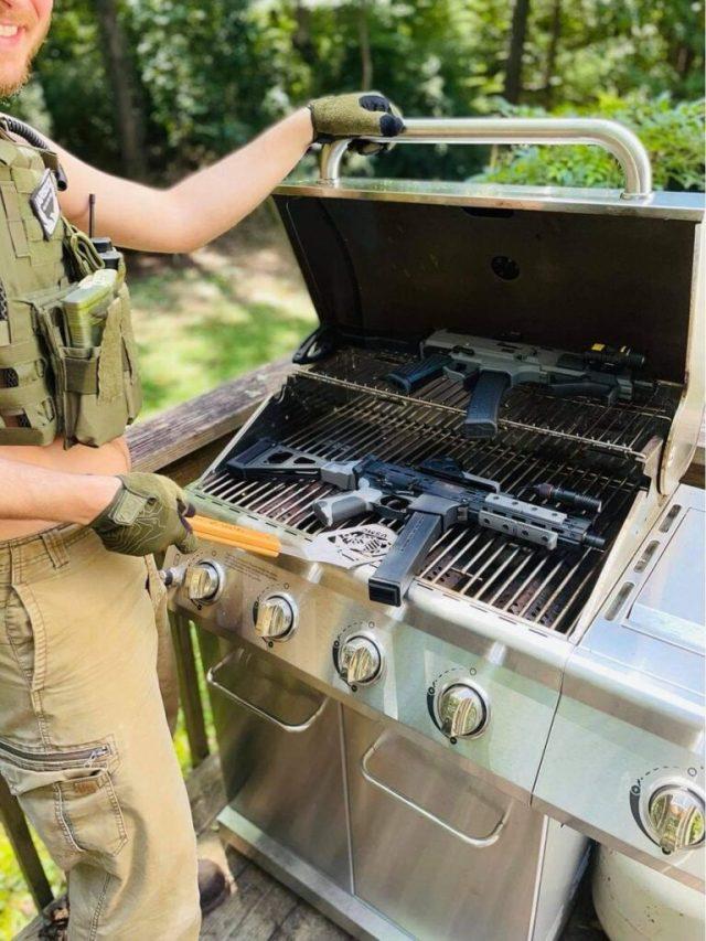 AR pistol on grill