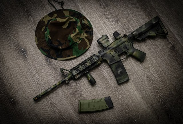 Camo AR-15 and hat