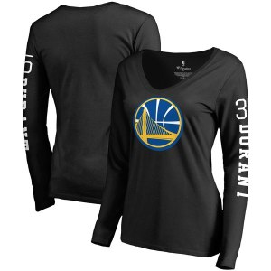 Women's Golden State Warriors Kevin Durant Fanatics Branded Black Team Idol Name & Number Long Sleeve V-Neck T-Shirt