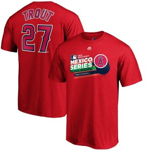 Mike Trout Los Angeles Angels Majestic 2019 Mexico Series Name & Number T-Shirt – Red